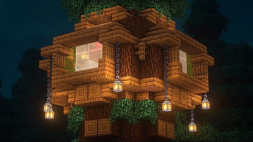 Майнкрафт | Как Построить Дом На Елке | vanstar