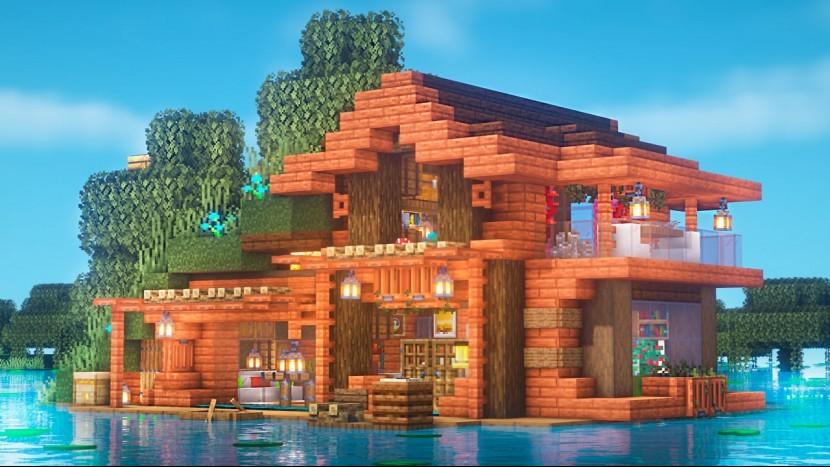 Майнкрафт   Как Построить Дом У Озера   Болотная Землянка   Vanstar