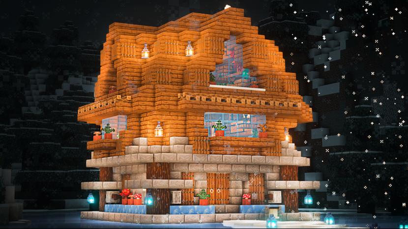 Майнкрафт | Как Построить Зимний Домик | Зимний Коттедж | Vanstar