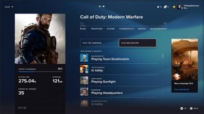 Интерфейс PS5 позволит увидеть список миссий и онлайн сражений без запуска игры