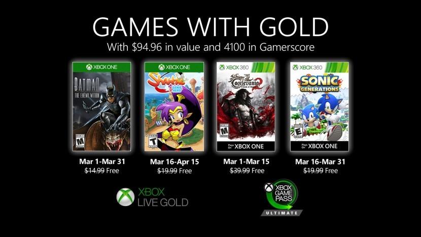 Анонсированы бесплатные игры Xbox Live Gold на март 2020