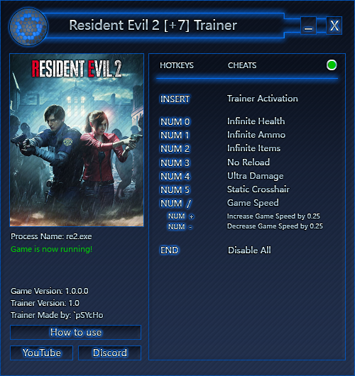 скачать Resident Evil 2: Трейнер/Trainer (+7) [1.0   STEAM]