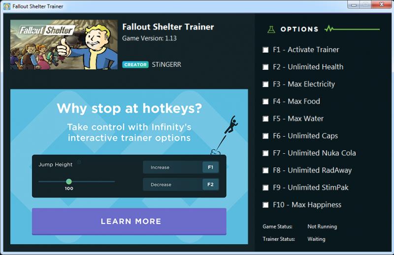 скачать Fallout Shelter: Трейнер/Trainer (+10) [1.13 steam]