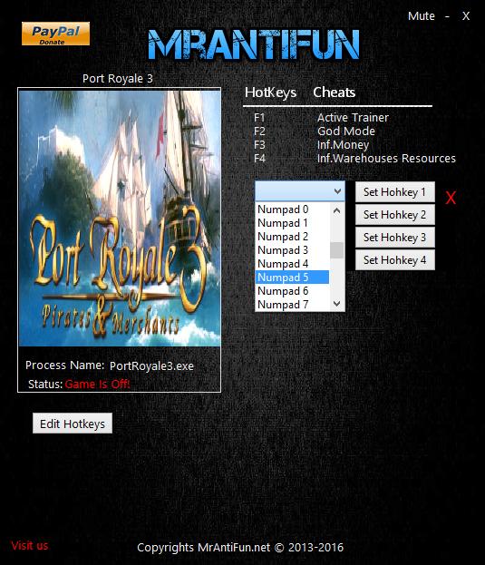 скачать Port Royale 3: Pirates & Merchants: Трейнер/Trainer (+3) [1.3.2.29411]