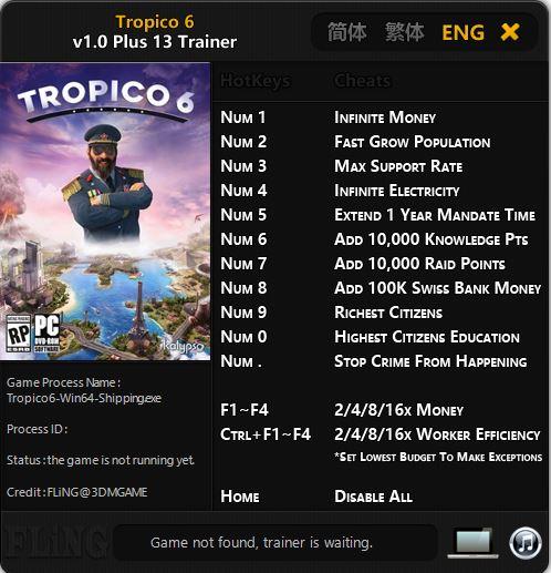 скачать Tropico 6: Трейнер/Trainer (+13) [1.0]