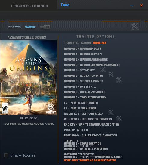 скачать Assassin's Creed: Origins: Трейнер/Trainer (+20) [1.51]