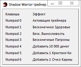 скачать Shadow Warrior: Трейнер/Trainer (+6) [1.5.0] (x64)