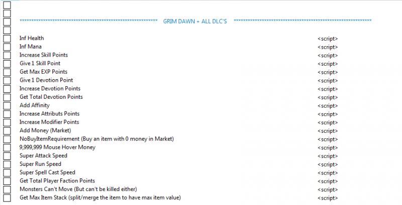 скачать Grim Dawn: Таблица для Cheat Engine [1.1.1.2]