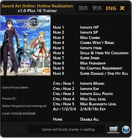 скачать Sword Art Online: Hollow Realization Трейнер/Trainer (+16) [1.00]