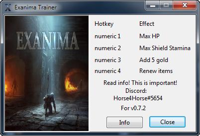 скачать Exanima: Трейнер/Trainer (+4) [0.7.2]