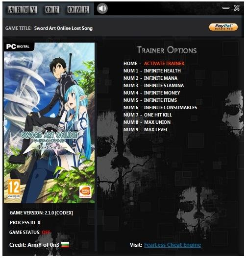 скачать Sword Art Online: Lost Song Трейнер/Trainer (+9) [2.1.0]
