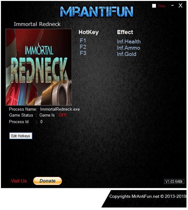 скачать Immortal Redneck: Трейнер/Trainer (+3) [V1.3.4]