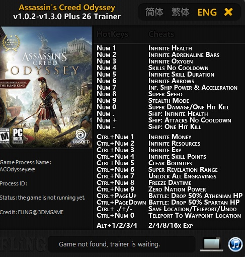 скачать Assassin's Creed: Odyssey: Трейнер/Trainer (+26) [1.0.2 - 1.3.0]