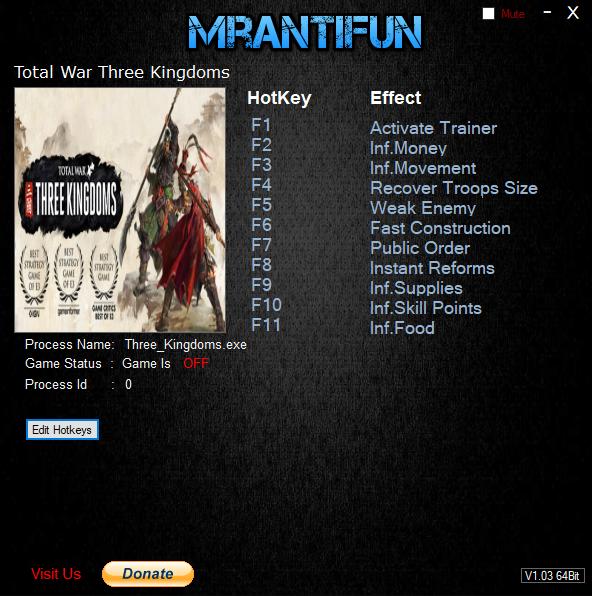 скачать Total War: Three Kingdoms: Трейнер/Trainer (+10) [1.0]