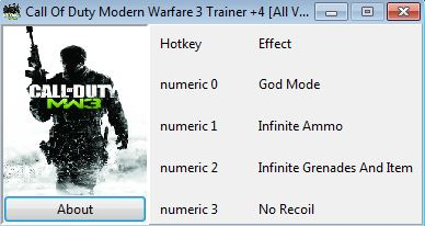 скачать Call Of Duty Modern Warfare 3: Трейнер/Trainer (+4) [All Versions]