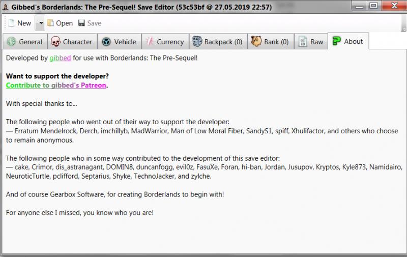 скачать Borderlands: The Pre-Sequel: Редактор Сохранений / Save Editor (BLOZ Save Editor) [1.0.8]