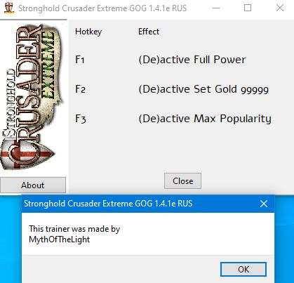 скачать Stronghold Crusader Extreme: Трейнер/Trainer (+3) [1.4.1e издание GOG]