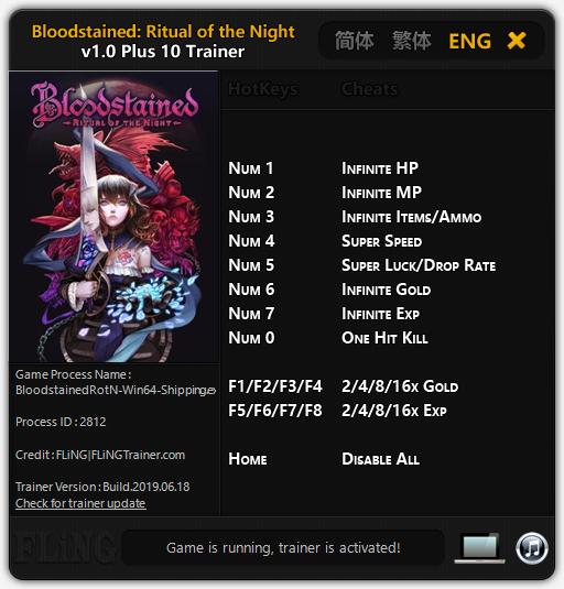 скачать Bloodstained: Ritual of the Night: Трейнер/Trainer (+10) [1.0]