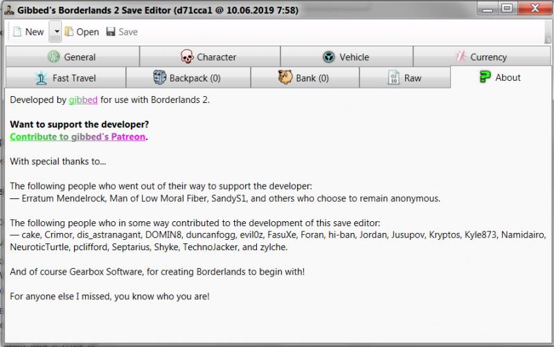 скачать Borderlands 2: Редактор Сохранений / Save Editor (BL2 Save Editor) [1.0.42]