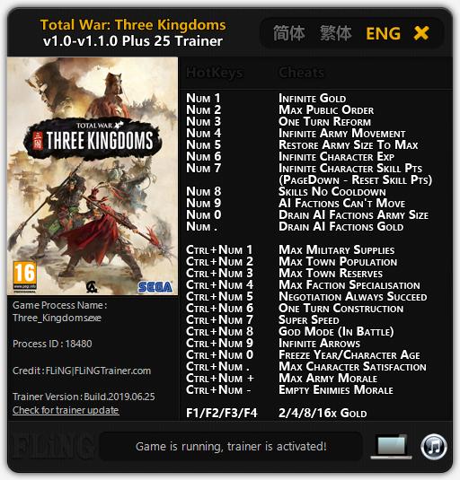 скачать Total War: Three Kingdoms: Трейнер/Trainer (+25) [1.0 - 1.1.0 (25.06.2019)]