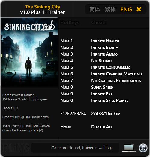 скачать Sinking City: Трейнер/Trainer (+11) [1.0]