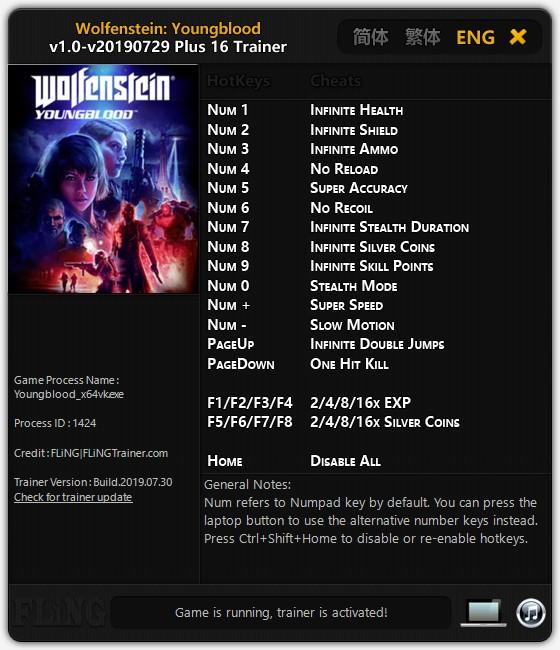 скачать Wolfenstein: Youngblood +16 трейнер v1.0-v20190729 {FLiNG}