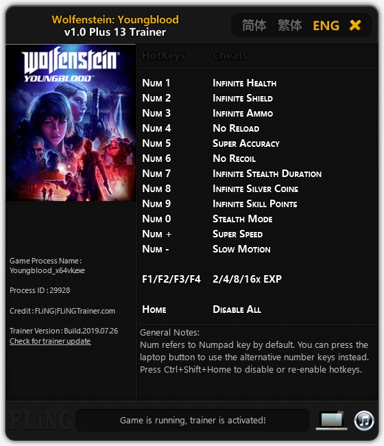скачать Wolfenstein: Youngblood +13 трейнер v1.0 {FLiNG}