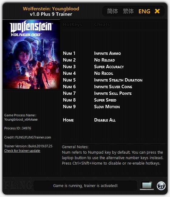 скачать Wolfenstein: Youngblood +9 трейнер v1.0 {FLiNG}