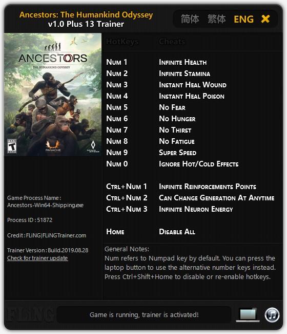 скачать Ancestors: The Humankind Odyssey +13 трейнер v1.0 {FLiNG}