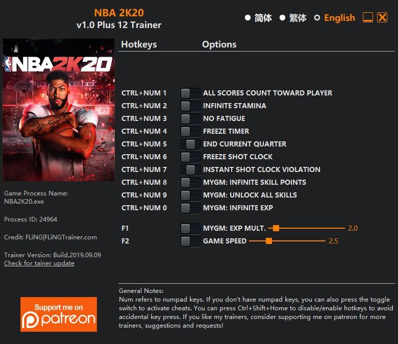 скачать NBA 2K20: +12 трейнер v1.0 {FLiNG}