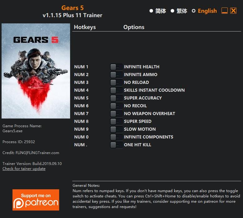 скачать Gears 5: +11 трейнер v1.1.15 {FLiNG}