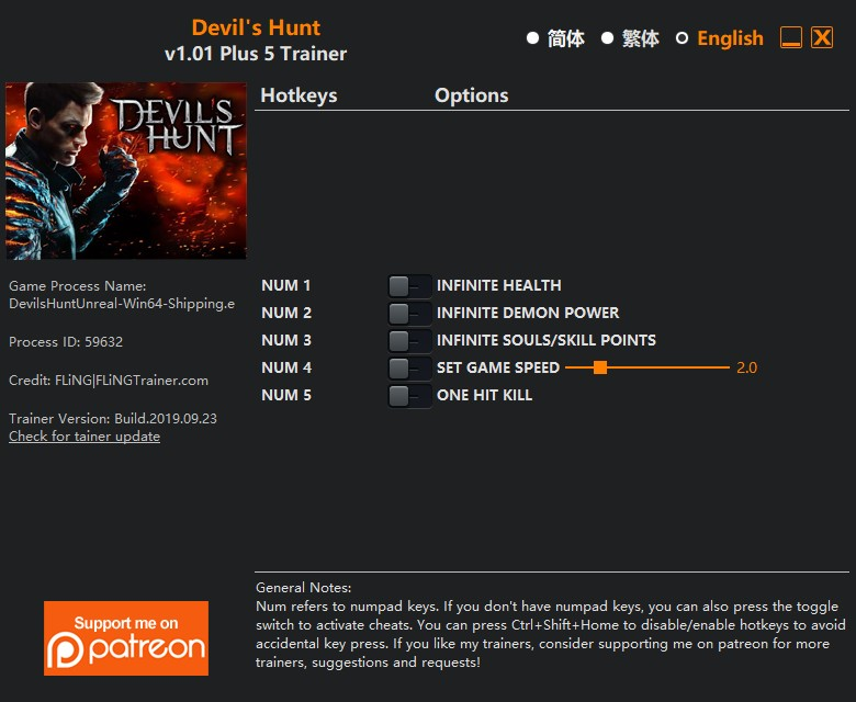скачать Devil's Hunt: +5 трейнер v1.01 {FLiNG}