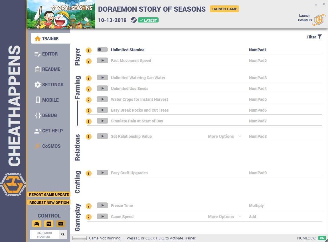 скачать Doraemon Story Of Seasons: +19 трейнер v1.0 {CheatHappens.com}