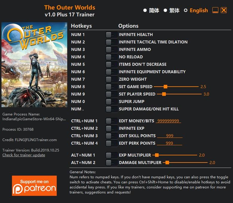 скачать The Outer Worlds: +17 трейнер v1.0 Epic Game Store/Windows Store {FLiNG}