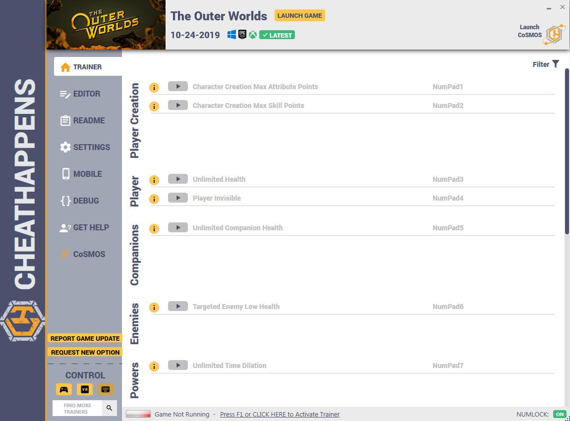 скачать The Outer Worlds: +37 трейнер v1.0 {CheatHappens.com}