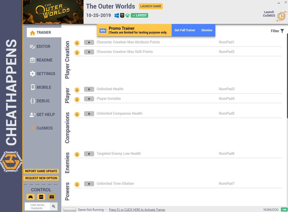 скачать The Outer Worlds: +52 трейнер HF2 (10.25.2019) {CheatHappens.com}