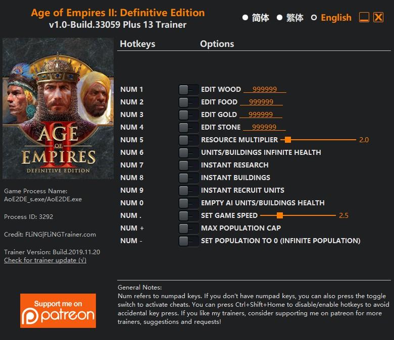 скачать Age of Empires II: Definitive Edition - +12 трейнер v1.0-Build.33059 {FLiNG}