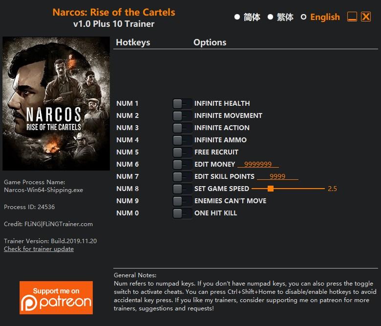 скачать Narcos: Rise of the Cartels - +10 трейнер v1.0 {FLiNG}