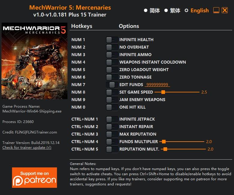 скачать MechWarrior 5: Mercenaries - +15 трейнер v1.0-v1.0.181 {FLiNG}