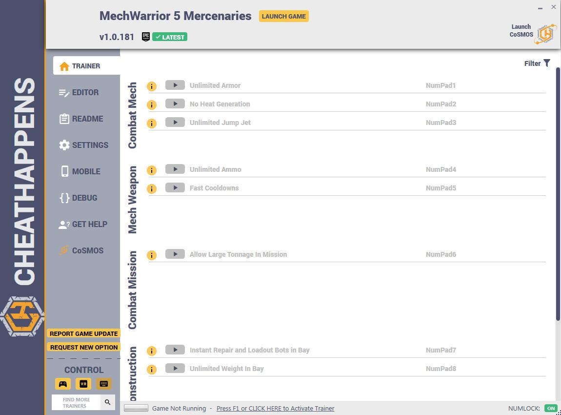 скачать MechWarrior 5: Mercenaries - +57 трейнер v1.0.181 {CheatHappens.com}