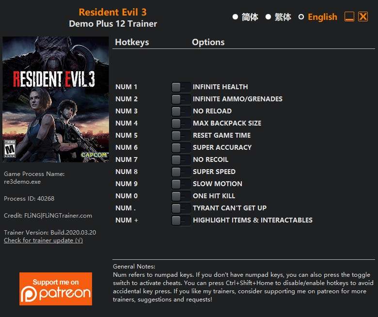 скачать Resident Evil 3: +12 трейнер Демо-версия {FLiNG}