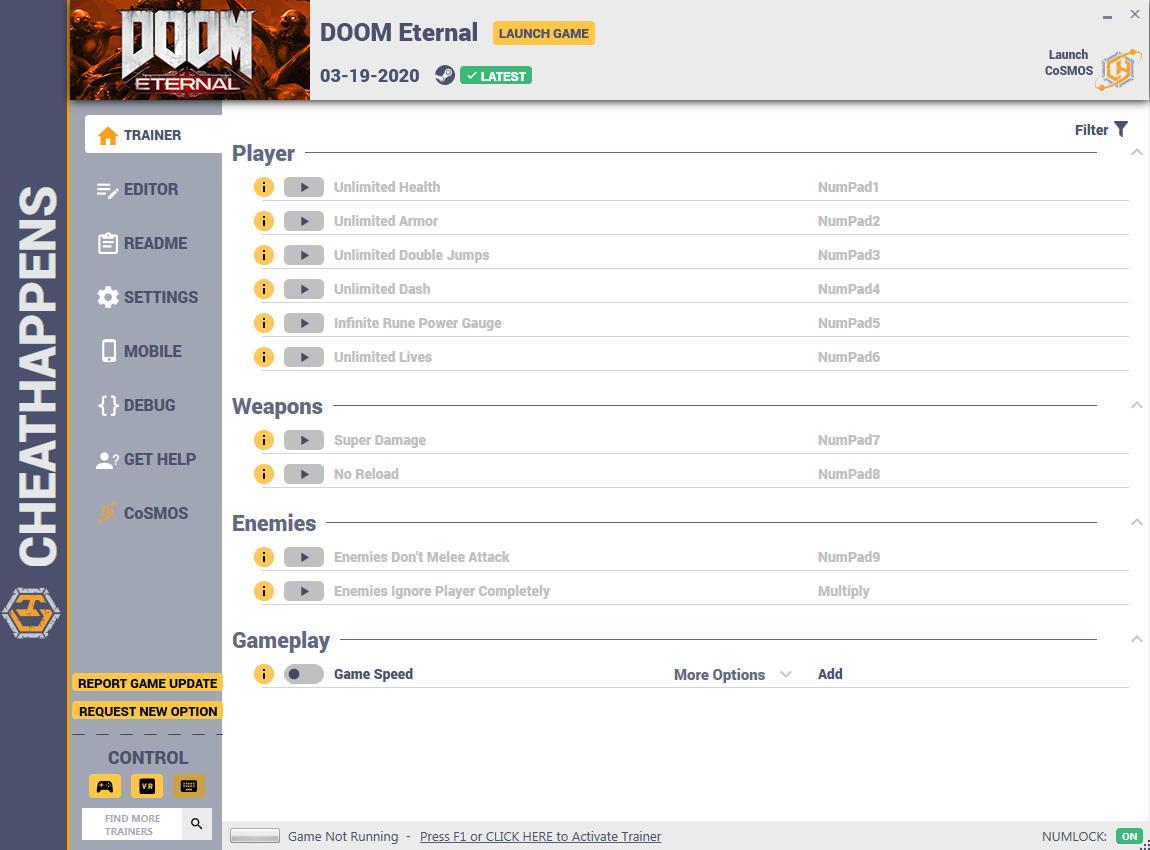 скачать DOOM Eternal: +19 трейнер v1.0 {CheatHappens.com}