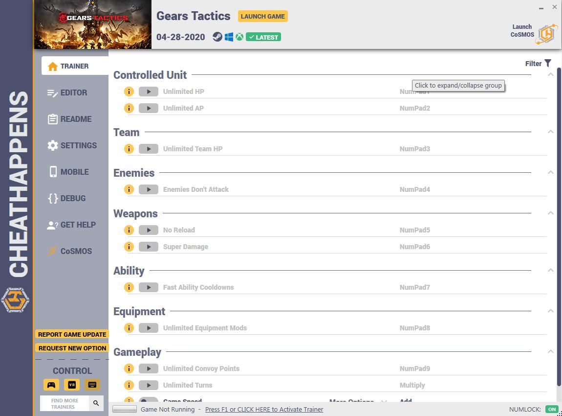 скачать Gears Tactics: +21 трейнер v1.0 {CheatHappens.com}