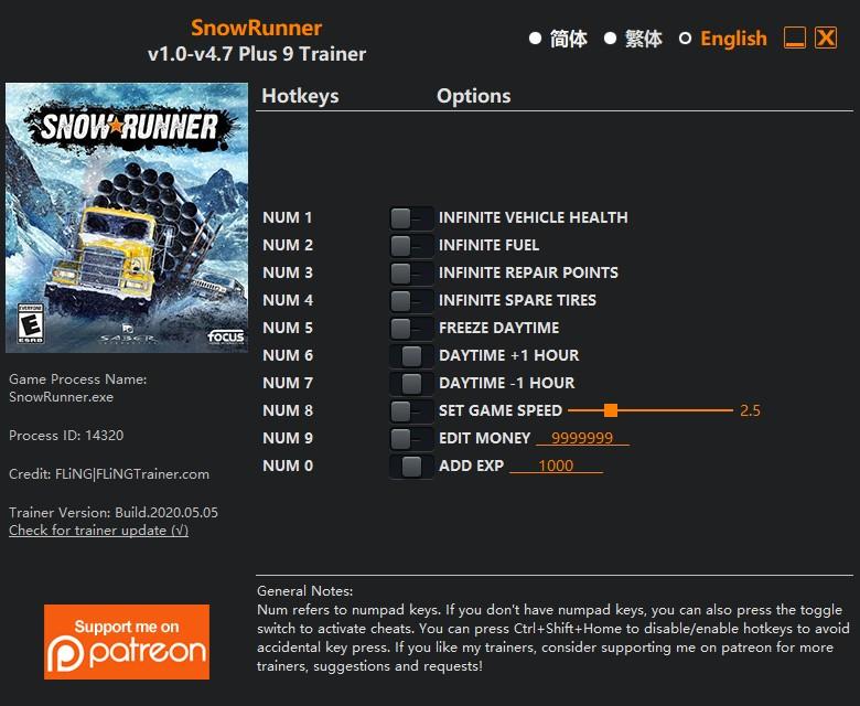 скачать SnowRunner: +9 трейнер v1.0-v4.7 {FLiNG}
