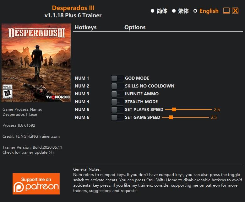 скачать Desperados III: +6 трейнер v1.1.18 {FLiNG}