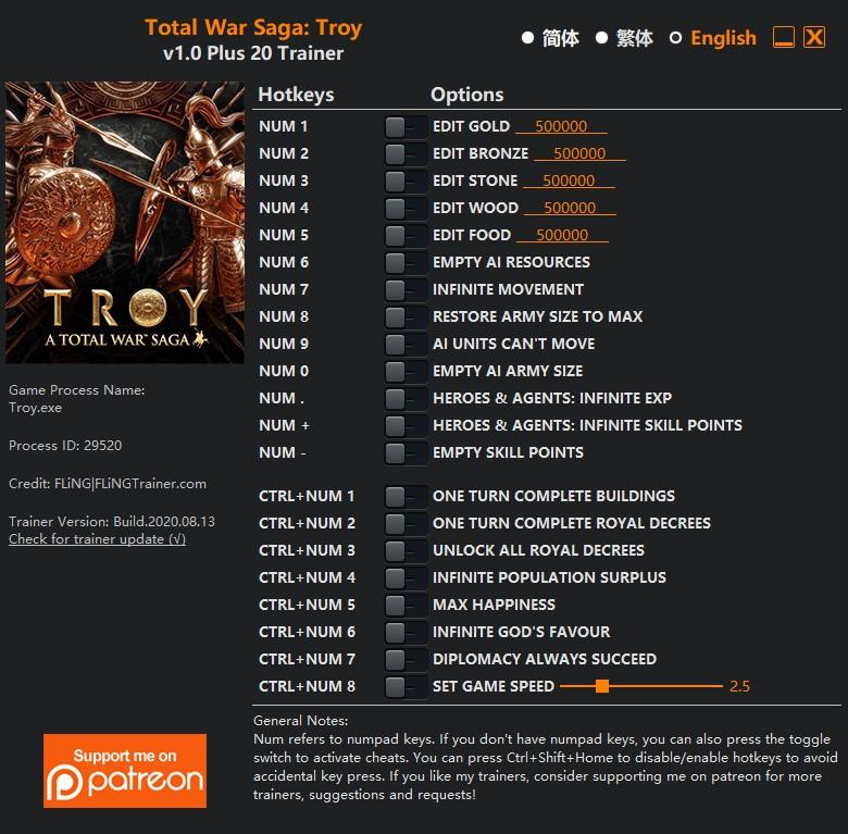 скачать Total War Saga: TROY +20 трейнер v1.0 {FLiNG}