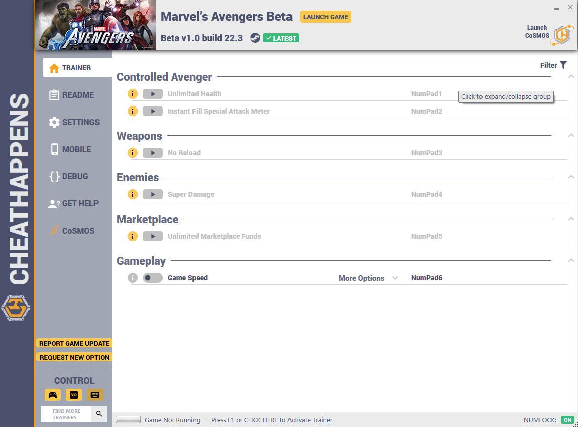 скачать Marvel's Avengers: +6 трейнер Beta v1.0 build 22.3 {CheatHappens.com}