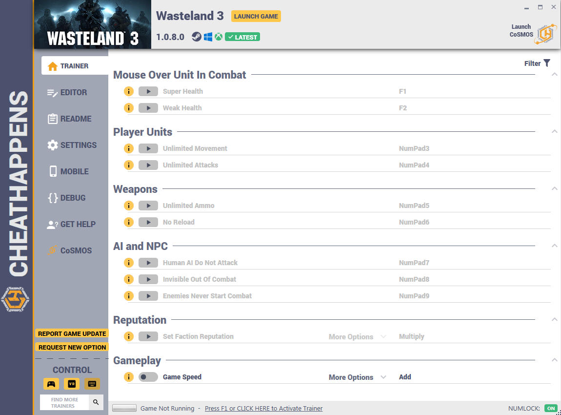 скачать Wasteland 3: +30 трейнер v1.0.8.0 (STEAM+GAMEPASS+GOG) {CheatHappens.com}