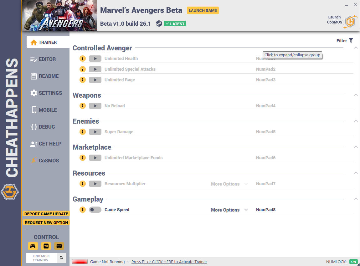 скачать Marvel's Avengers: +12 трейнер Beta v1.0 build 26.1 {CheatHappens.com}