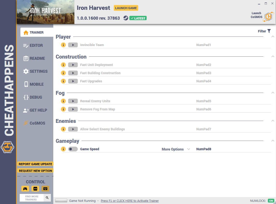 скачать Iron Harvest: +12 трейнер v1.0.0.1600 rev. 37863 {CheatHappens.com}